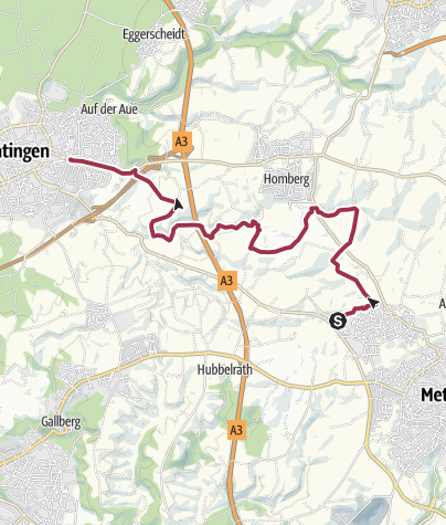 Karte / Von Metzkausen nach Ratingen-Ost durchs Schwarzbachtal