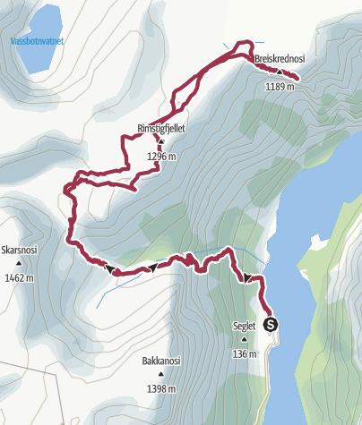 Karte / Breiskrednosi über den Rimstigen
