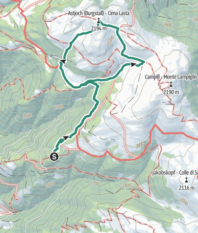 Cartina / Trekking sull'Alpe di Luson – Cima Lasta/ Astjoch e Rifugio Kreuzwiese