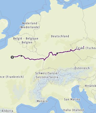 Karte / Paneuropa Paris-Prag