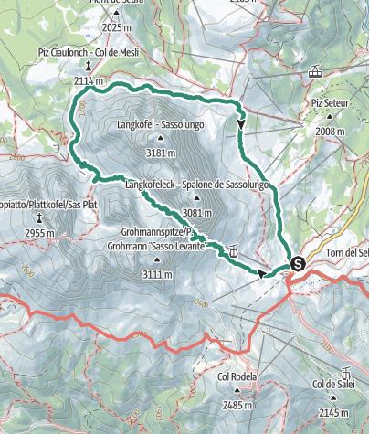 Cartina / Giro attorno al Sassolungo partendo dal Passo Sella e passando per i rifugi Demez, Vicenza e Comici