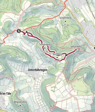 Karte / Kleine Rundwanderung Burren-Kuchberg-Spitzenberg