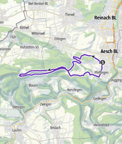 Karte / Aesch - Plattenpass - Blauen - Pfeffingen