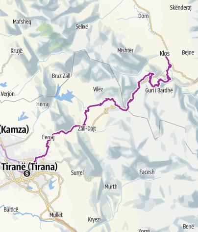 Carte / Albanien - 2.Tag Tirana nach Klos
