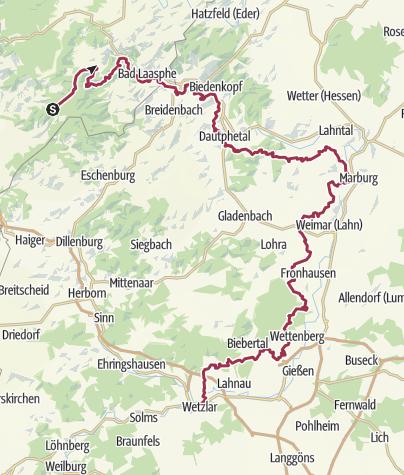 Karte / Lahnhöhenweg (Oberes Lahntal) Lahnhof-Wetzlar