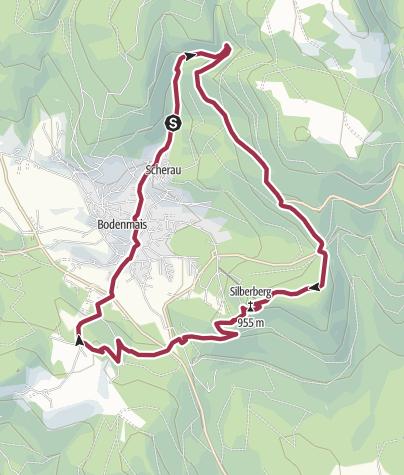 Karte / Rundweg Rieslocher Wasserfälle, Silberberg, Riederinfelsen, Bodenmais