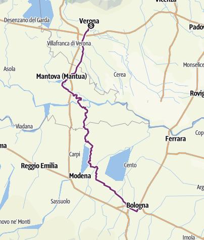 Karte / Tag 11 - Eigentlicher Weg Verona nach Bologna