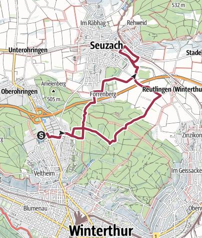 Map / PW Winterthur ZH, Lindberg 11 km Strecke
