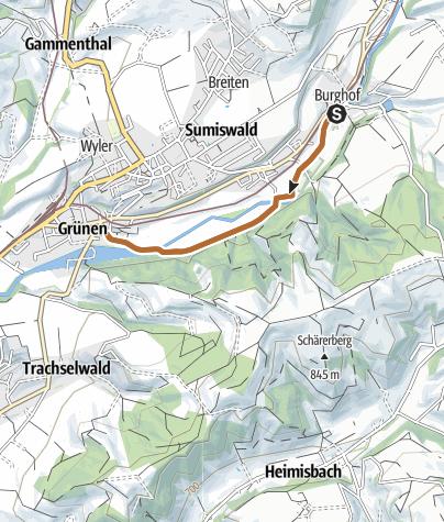 Karte / Sportland Sumiswald Walkingstrecke kurz