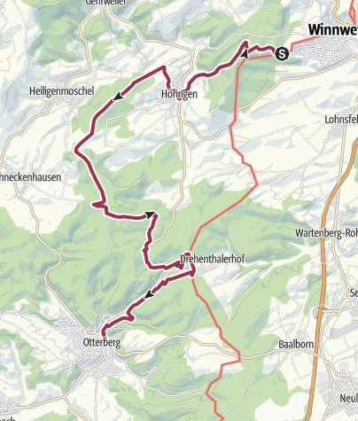 Karte / Hinkelsteinweg - Etappe 2 (Winnweiler-Otterberg)