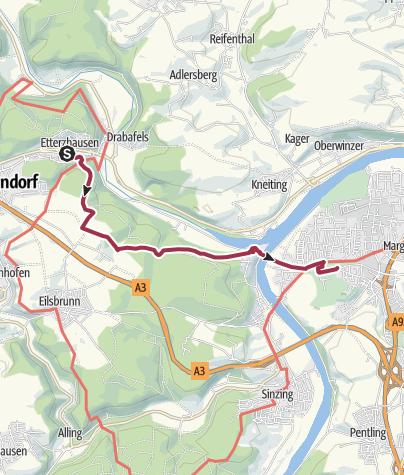 Karte / Prüfening (Bhf) - Etterzhausen - Mariaort - Prüfening (Bhf)