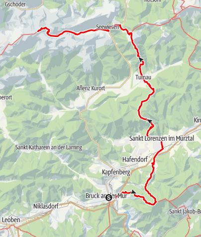 Karte / Wanderung von Bruck an der Mur bis auf den Hochschwab