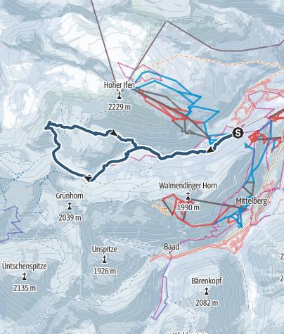 Karte / Skitour zum Hählekopf