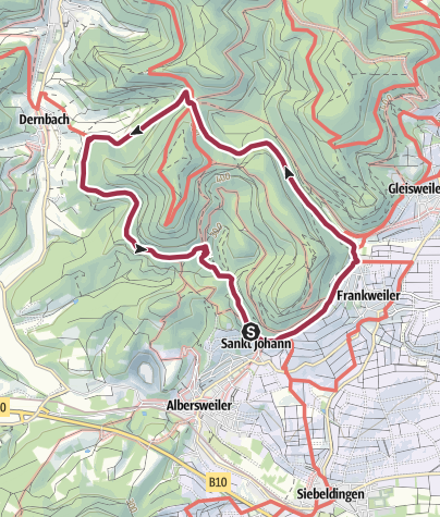 Karte / Albersweiler - Zimmerplatz - Dernbacher Haus - Naturfreundehaus Kiesbuckel - Albersweiler/St. Johann