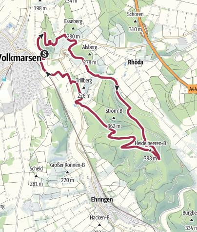 Karte / Rundwanderung - Von der Kugelsburg zum Heidelbeerenberg
