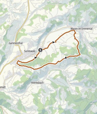 Karte / Sportland Sumiswald Walkingstrecke lang