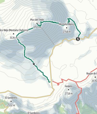 Karte / Pico del Teide (3.718m) - Überschreitung von Spaniens höchstem Berg in 2 Tagen ohne Genehmigung