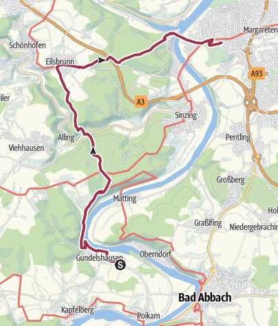Karte / Bhf Gundelshausen - Eilsbrunn - Bhf Prüfening