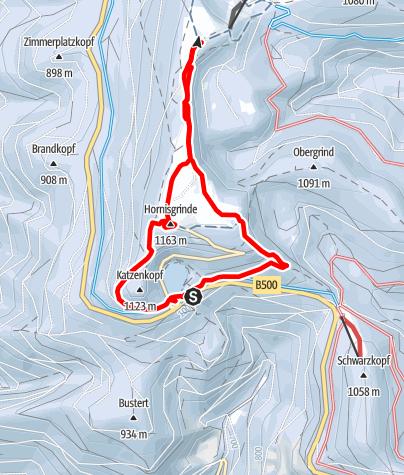 Map / Schneeschuhtour vom Mummelsee auf die Hornisgrinde