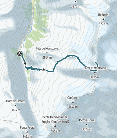 Karte / Gran Paradiso über Rifugio Vittorio Emanuele II (Ghiacciaio di Laveciau Gletscher)