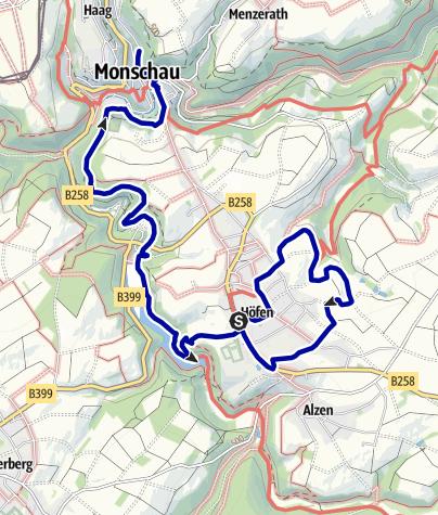 Karte / Von Höfen nach Monschau: Heckenweg und Perlenbachtal