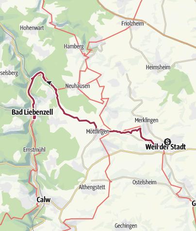 Map / 10.03.2019 -Monbachschlucht - von Weil der Stadt nach Bad Liebenzell