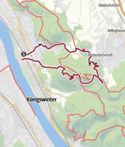 Map / Auf schmalen Pfaden durchs Siebengebirge mit Aussicht Stenzelberg