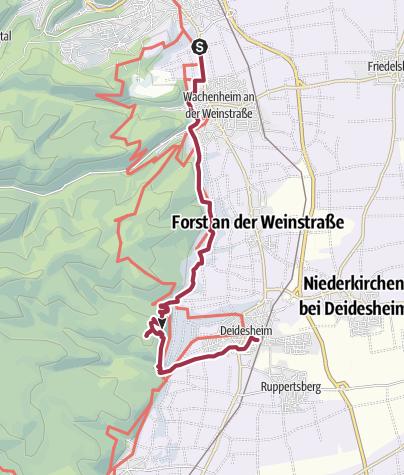 Karte / Parkplatz Weinstraßenfenster über Wallberghütte nach Deidesheim