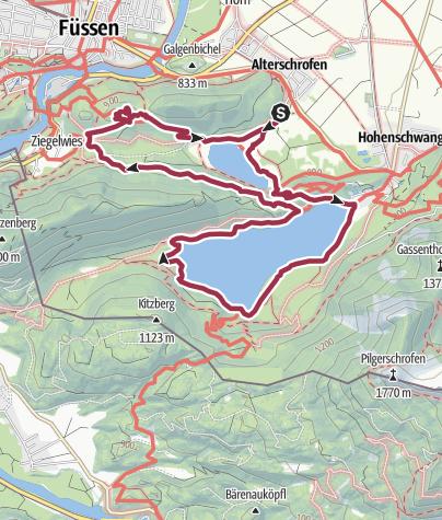 Karte / Rund um Schwansee und Alpsee