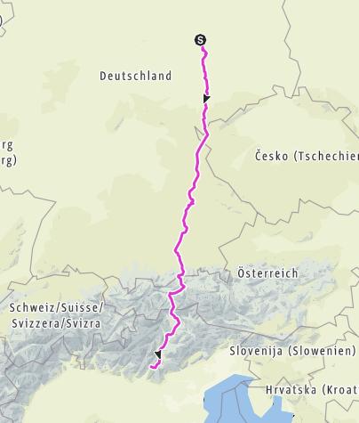 Karte / Tourenplanung Dessau nach Torbole (IT)