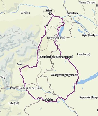 Karte / Wien-Graz-Maribor-Balaton-Wien