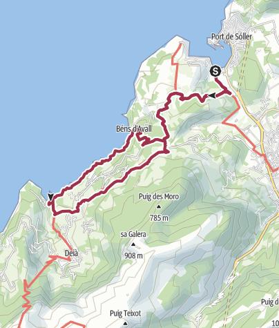 Karte / Von Port de Soller nach Cala Deia