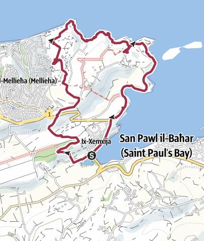 Map / Xemxija - Selmun - Mistra Circular Route