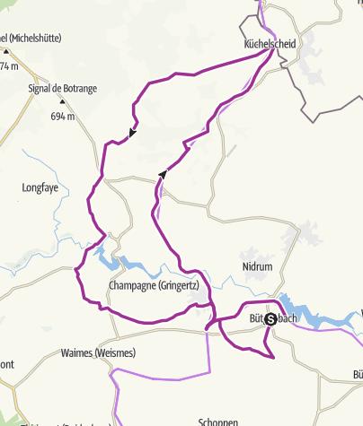 Map / Natuur- en cultuurfietsroute naar de Hoge Venen