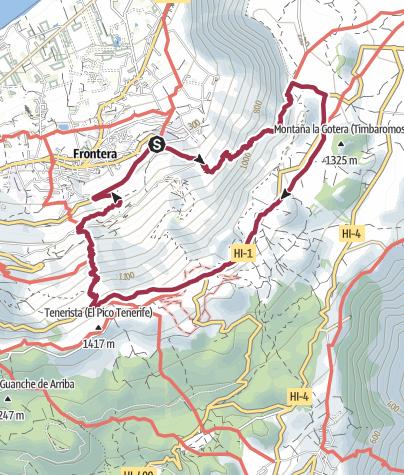 Karte / El Hierro Rundtour: La Frontera - Camino de Jinama - Camino de la Virgen - Camino de San Salvador - La Frontera