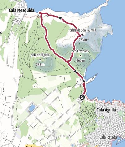 Von der Cala Agulla über den Talaia Son Jaumell zur Cala Mesquida • ...