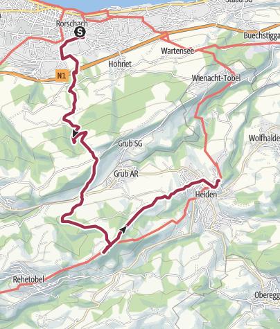 Karte / Kaienspitz (1122 m) Frühlingswanderung vom Bodensee über den Kaienspitz nach Heiden