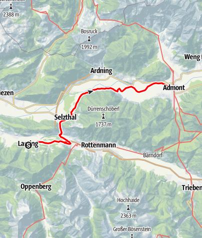 Karte / Etappe 08 Vom Gletscher zum Wein Nordroute Lassing - Admont