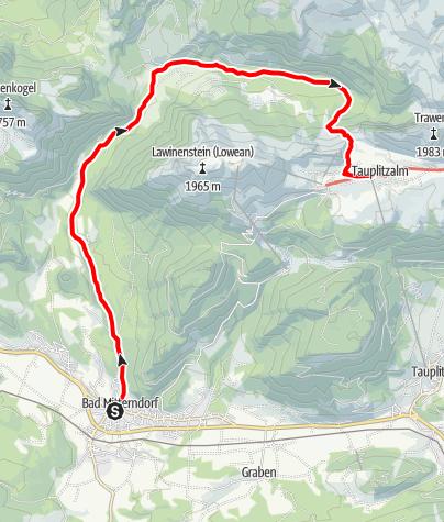 Karte / Etappe 04 Vom Gletscher zum Wein Nordroute Bad Mitterndorf - Tauplitzalm