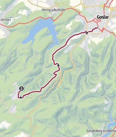 Map / Steinbergalm - Goslar, 11,6 Km, 70 Hm, 3:10 Std.