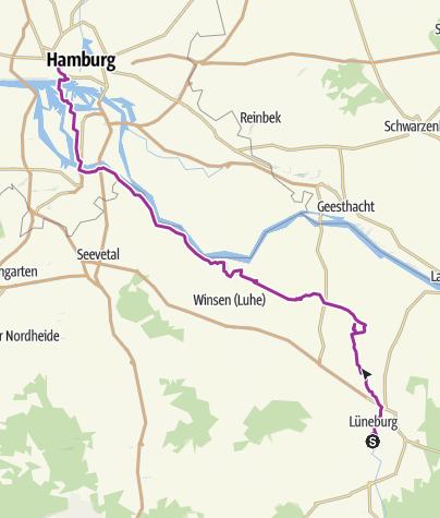 Map / Lüneburg nach Hamburg durch den Ilemenau entlang