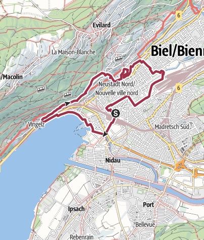 Map / PW Biel BE, 11 km Strecke