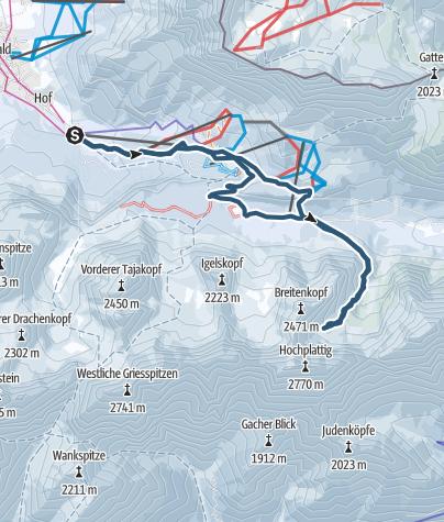 Karte / Skitour ins Schwarzbachkar von Ehrwald aus