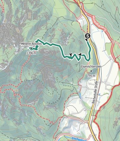 Map / Signalkopf = Mittlerer Rotofen (1396m) von Hallthurm