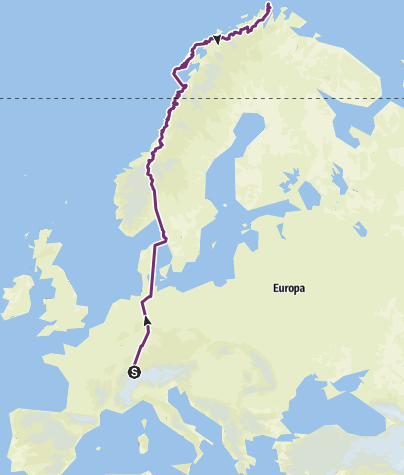 Karte / Radtour Sumiswald - Nordkapp