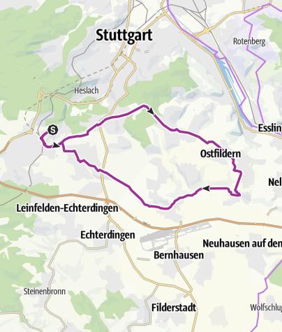 Karte / Kaltental radelt #42: Kunst auf den Fildern