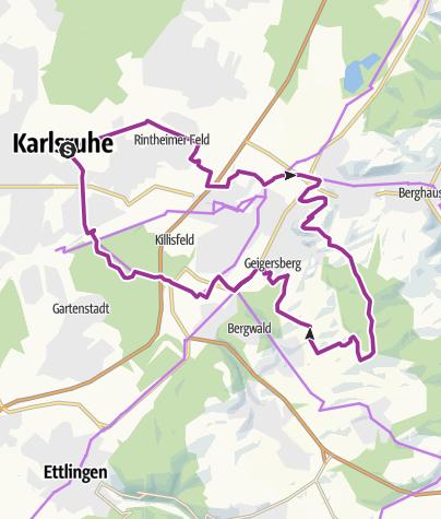 מפה / Auf den Turmberg  bei Durlach