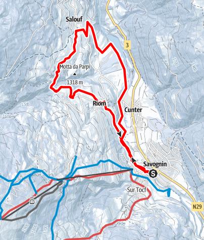 Map / Savognin - Cunter - Salouf - Riom - Savognin