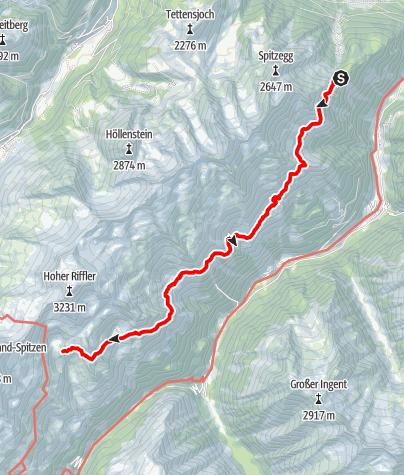 Karte / Berliner Höhenweg g. UZS, Etappe 2: Gamshütte - Friesenberghaus
