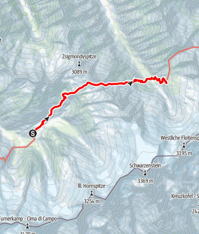 Karte / Berliner Höhenweg g. UZS, Etappe 5: Berliner Hütte - Greizer Hütte